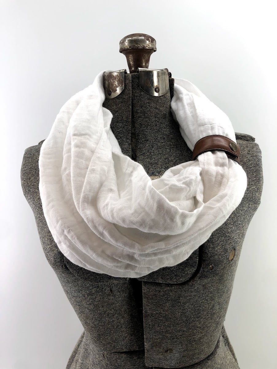 White Gauze Eternity Scarf with a Leather Cuff