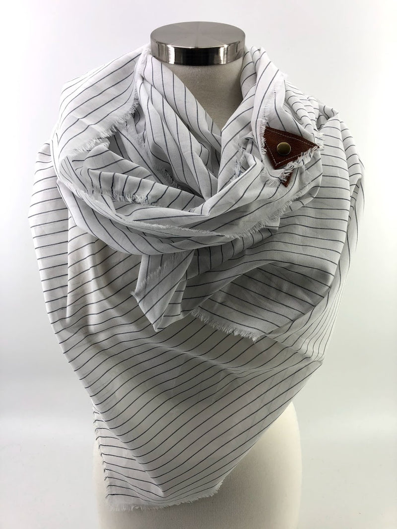 Sheer Pinstripe Blanket Scarf with Leather Detail