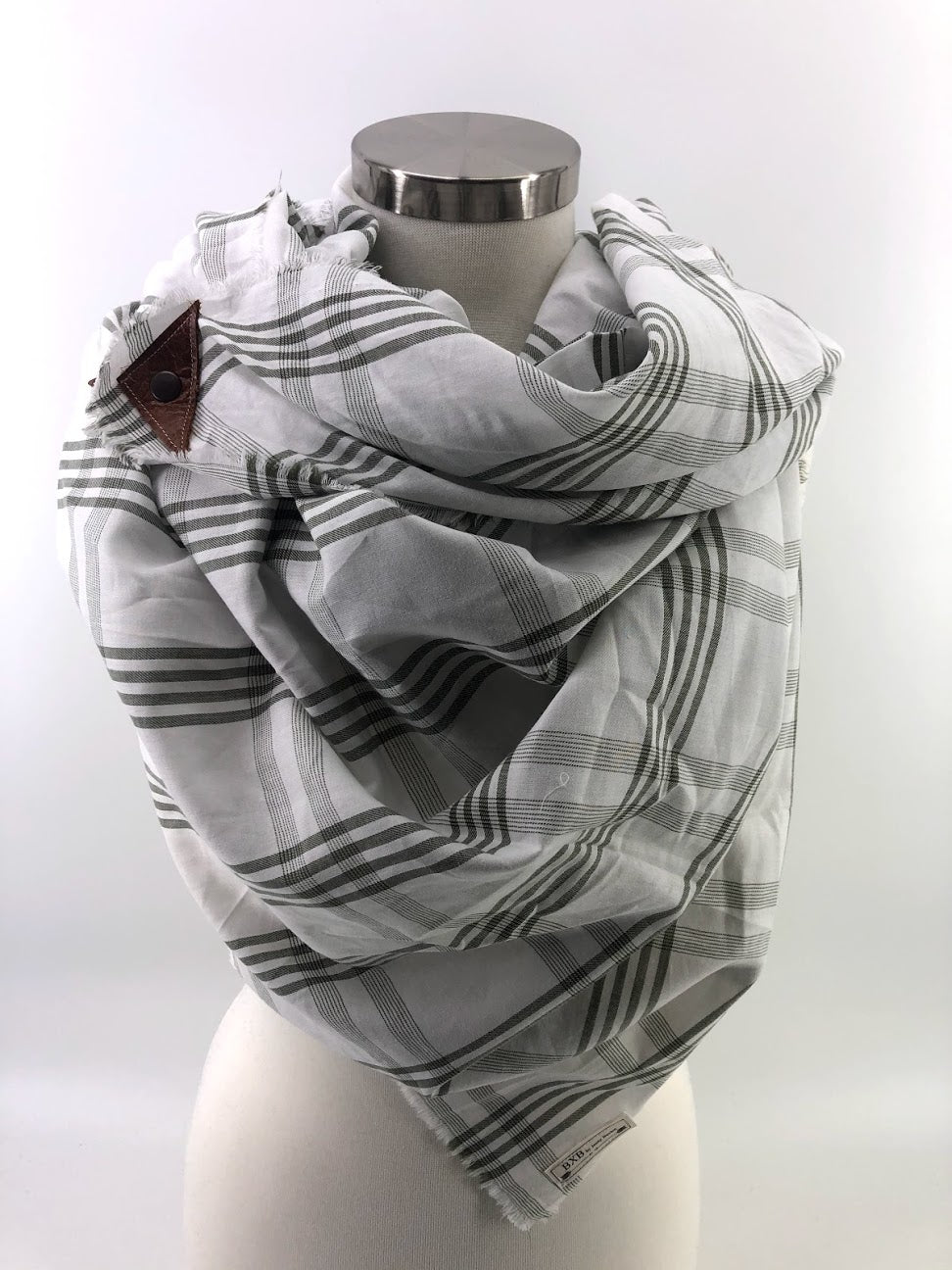 Olive & White Plaid Blanket Scarf with Leather Detail