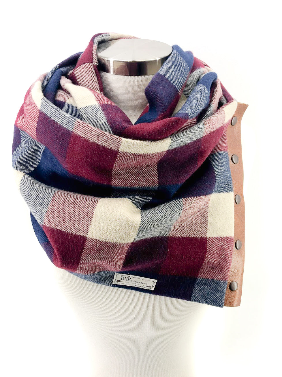 Navy & Wine Buffalo Check Multi Snap Scarf with Leather Snaps