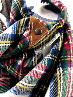 New Holiday Plaid Blanket Scarf with Leather Detail