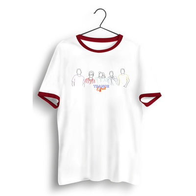 Band Silhouette White and Red Ringer Tee