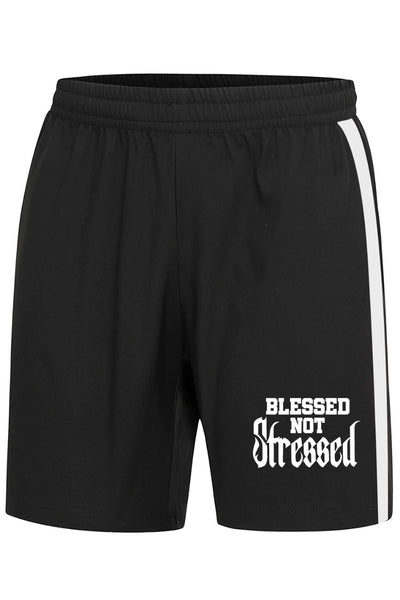 Blessed not Stressed Black Shorts