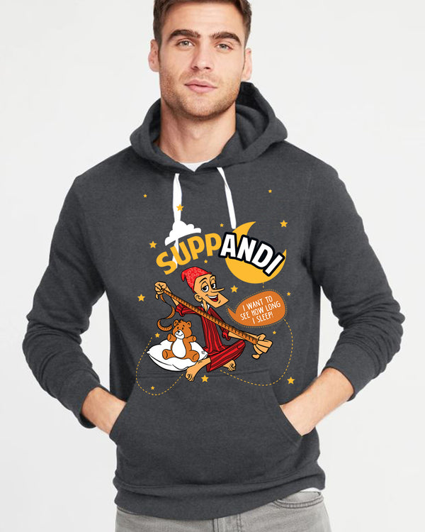 Suppandi How Long I can Sleep Charcoal Hoodie