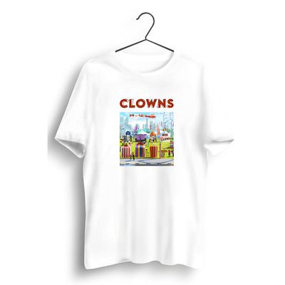 Clowns Graphic Printed White Tee