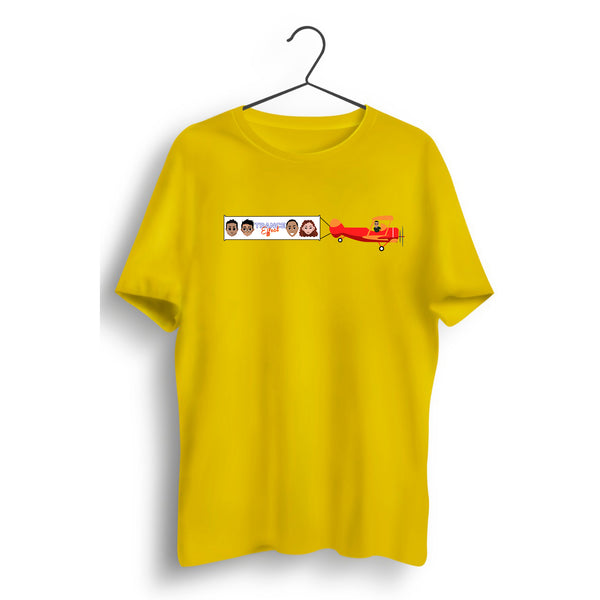 Plane Graphic Printed Yellow Tee