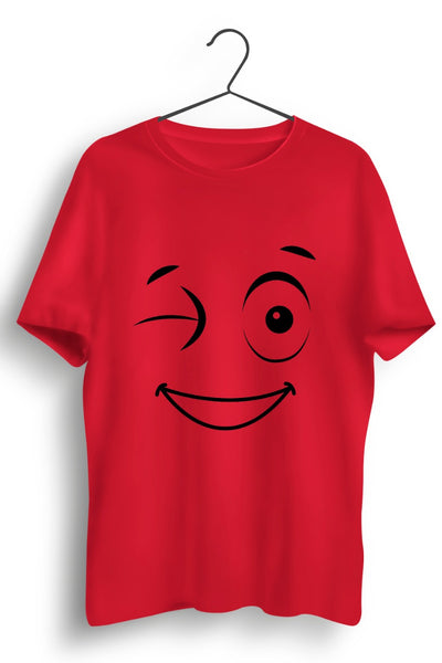 Cute Wink Red Cotton Tshirt