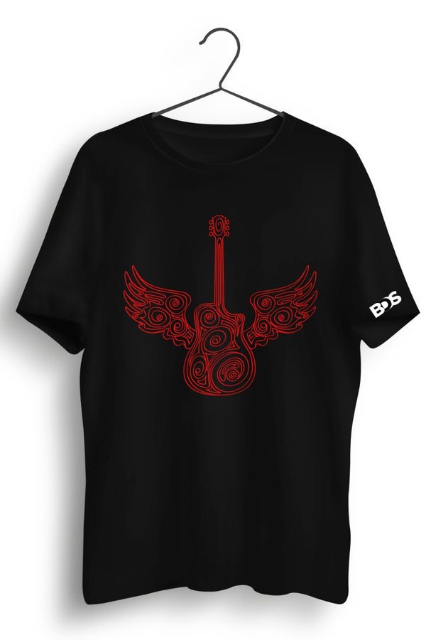 Guitar Wings Red Graphic Printed Black Tshirt
