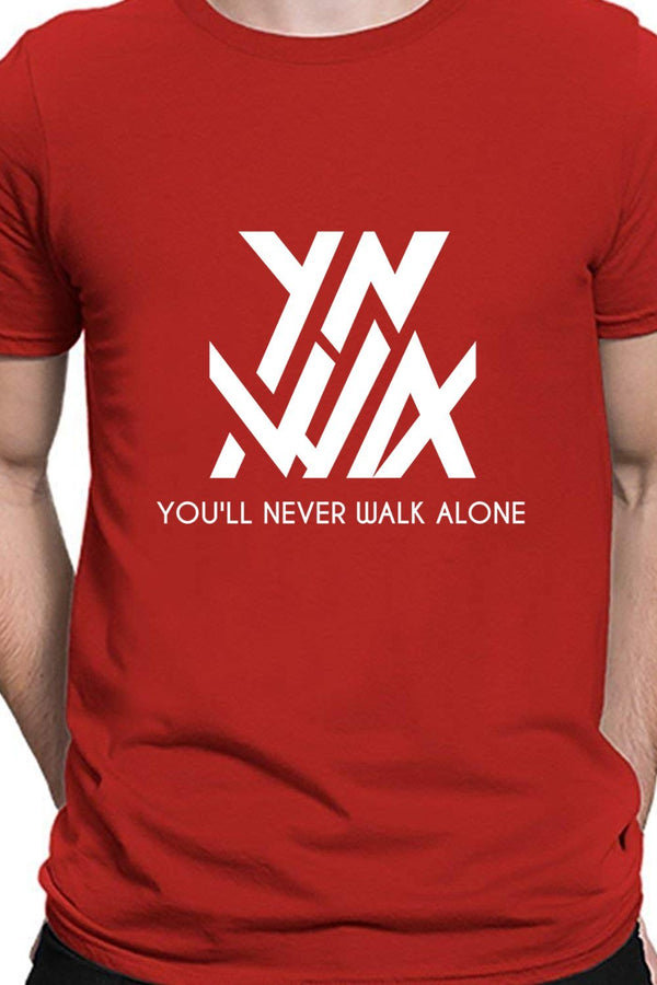 You'll Never Walk Alone YNWA - Liverpool Fan Block Printed Red T-Shirt