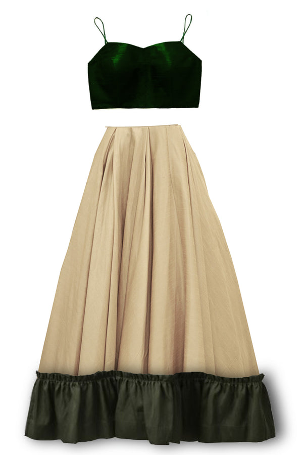 Abigale - silk skirt with ruffle hem and green blouse