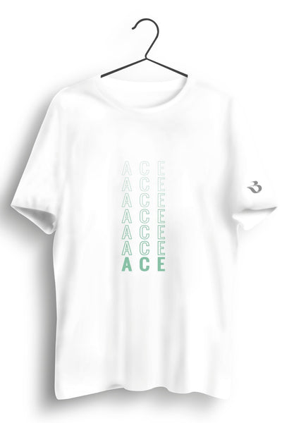 Ace Graphic Printed White Tshirt