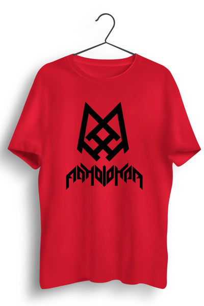 Adholokam Logo and Text Printed Red Tshirt