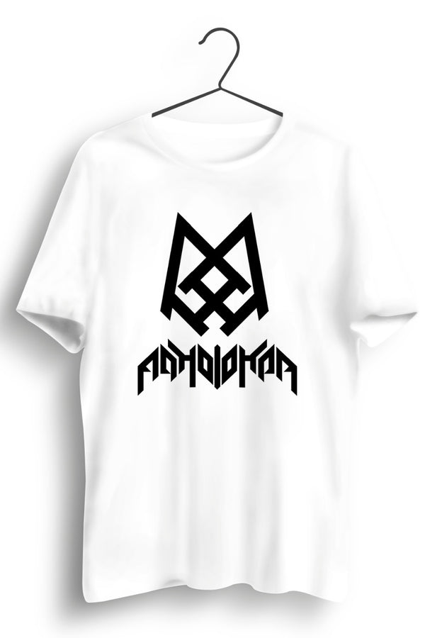 Adholokam Logo and Text Printed White Tshirt