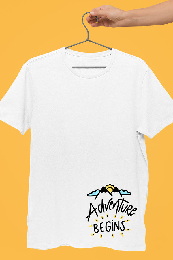 Adventure Begins White Tshirt