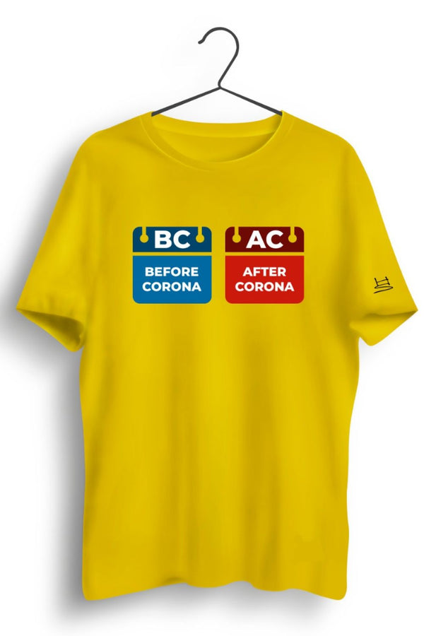 BC AC Graphic Printed Yellow Tshirt