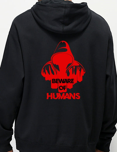Beware Of Humans Graphic Printed Black Hoodie