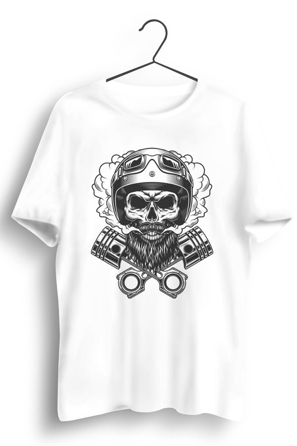 Weed Smoking Biker White Tshirt