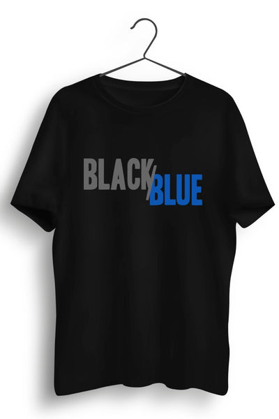Black Blue Logo Printed Black Tshirt