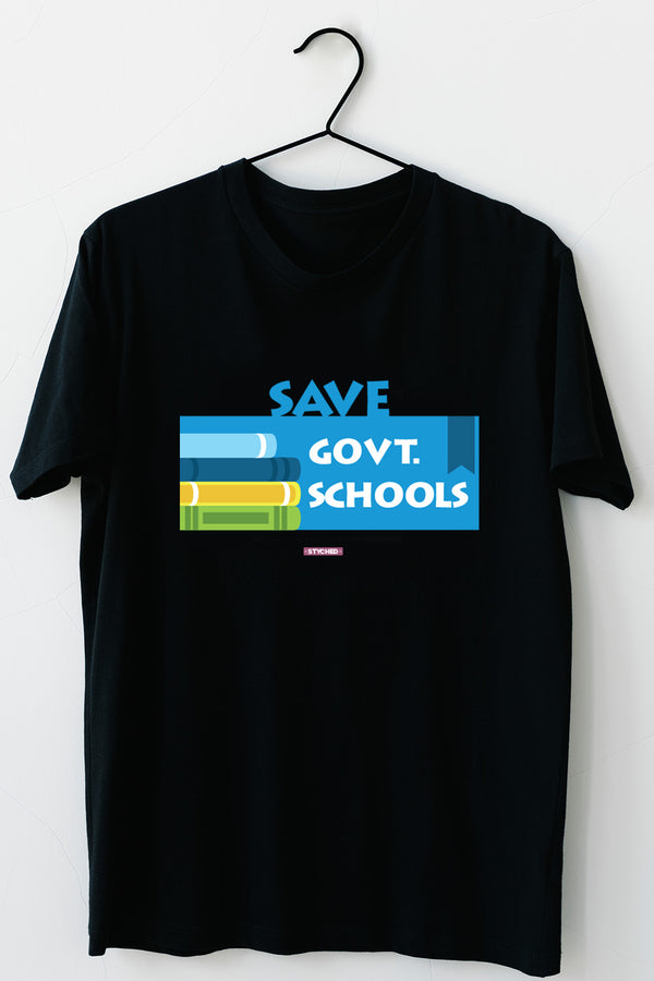 Save Govt. Schools Movement Tee - Styched In India Graphic T-Shirt Black