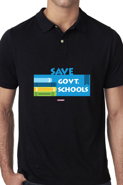 Save Govt. Schools Movement Tee - Styched In India Graphic Polo T-Shirt Black
