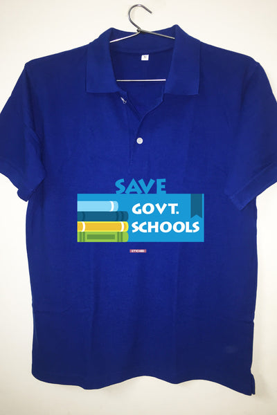 Save Govt. Schools Movement Tee - Styched In India Graphic Polo T-Shirt Blue