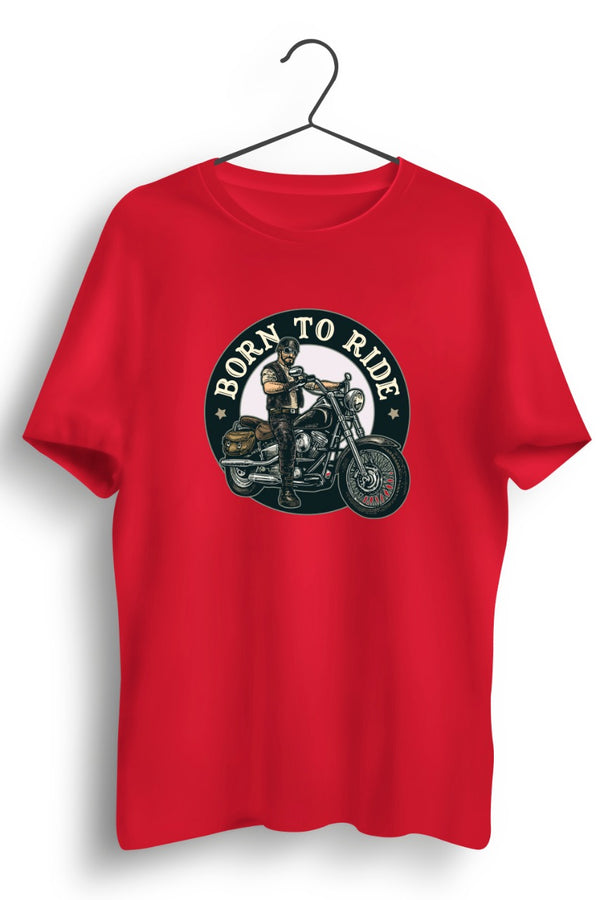 Born To Ride Circular Print Red Tshirt