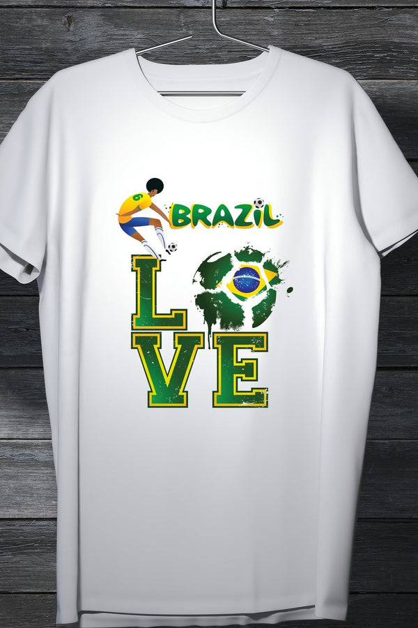 Brazilian Football Team Fan Tee- Casual Round Neck Printed