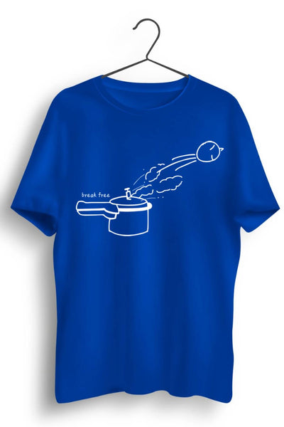 Break Free Graphic Printed Blue Tshirt