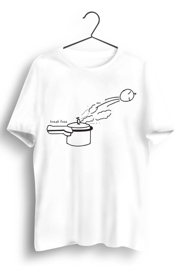 Break Free Graphic Printed White Tshirt