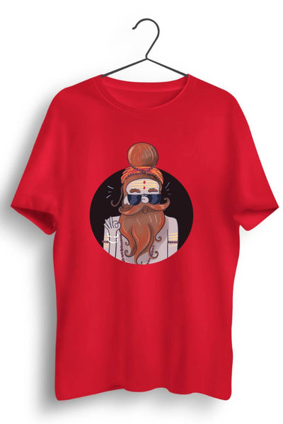 Calm Baba Graphic Printed Red Tshirt