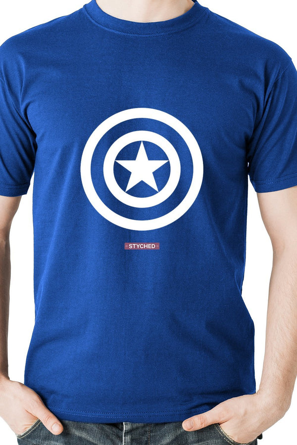 Captain America White Shield Blue T-Shirt