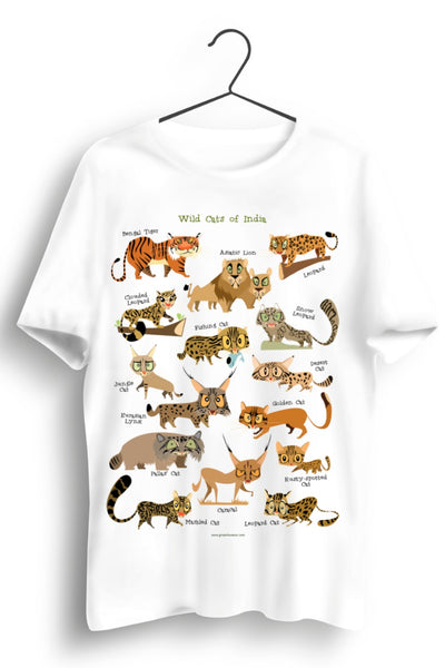 Cats Of India A3 Print White Tshirt