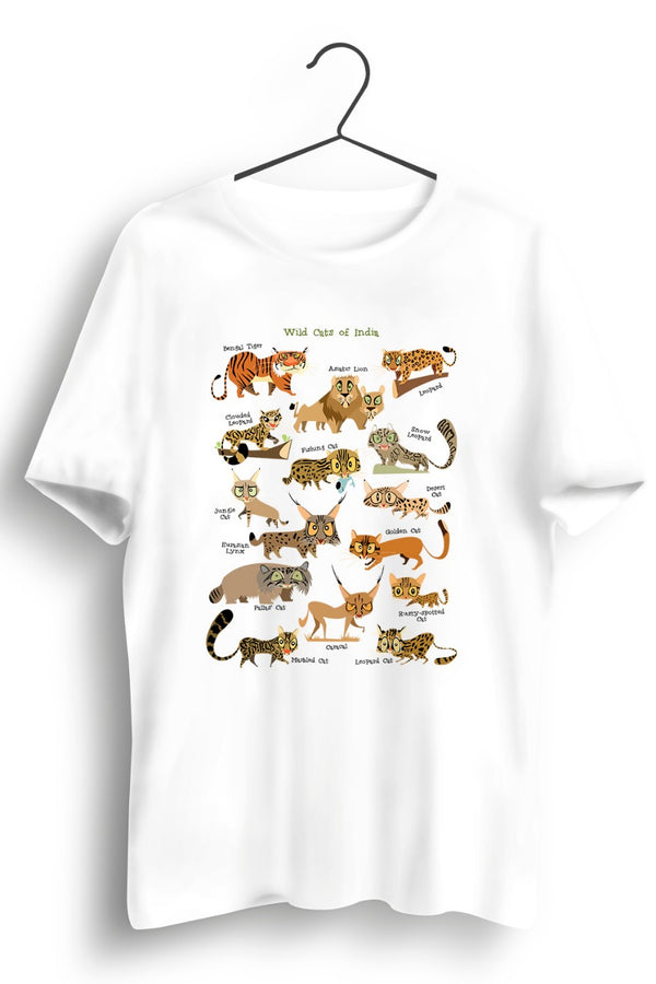 Wild Cats of India White Tshirt