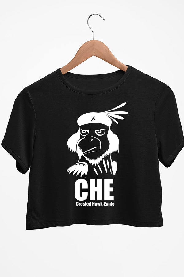 Crested Hawk Eagle CHE Black Crop Top