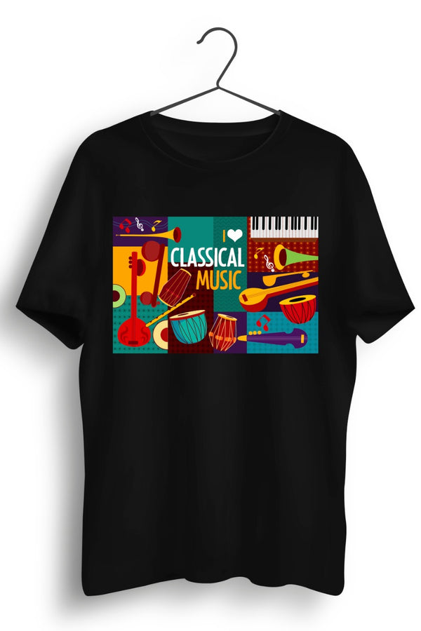 Classical Music Graphic Printed Black Tshirt