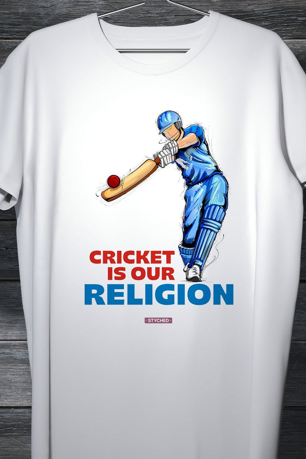 Cricket Is Our Religion - Indian Cricket Fan Tee White