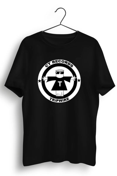 CT Records Graphic Printed Black Tee