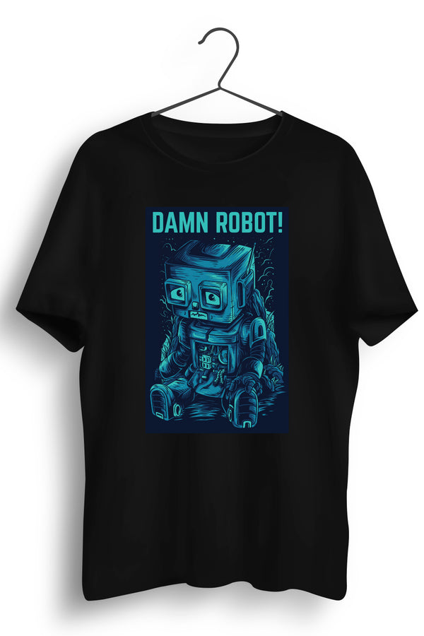 Damn Robot Graphic Printed Black Tshirt
