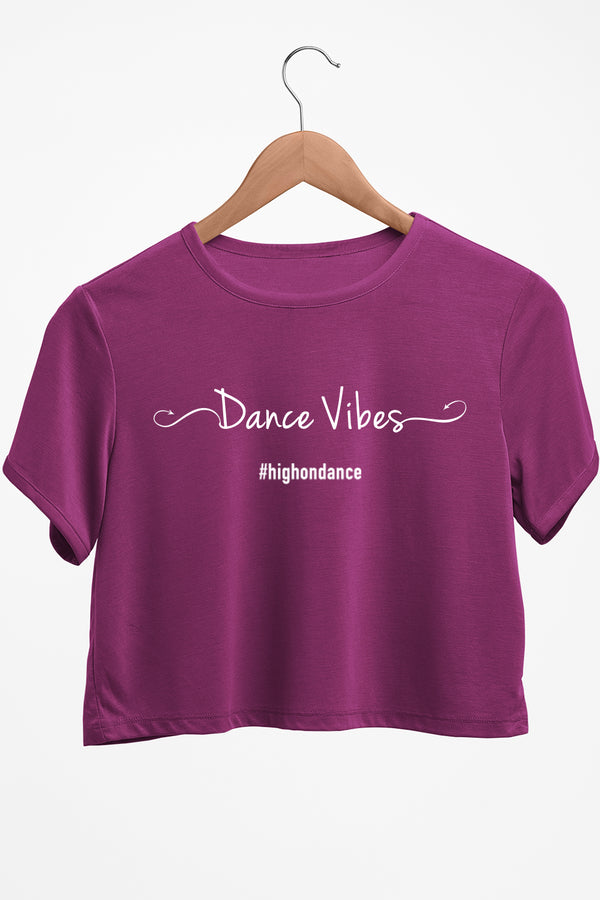 Dance Vibes Graphic Printed Purple Crop Top