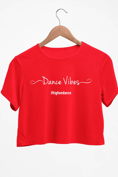 Dance Vibes Graphic Printed Red Crop Top