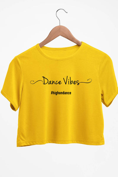 Dance Vibes Graphic Printed Yellow Crop Top
