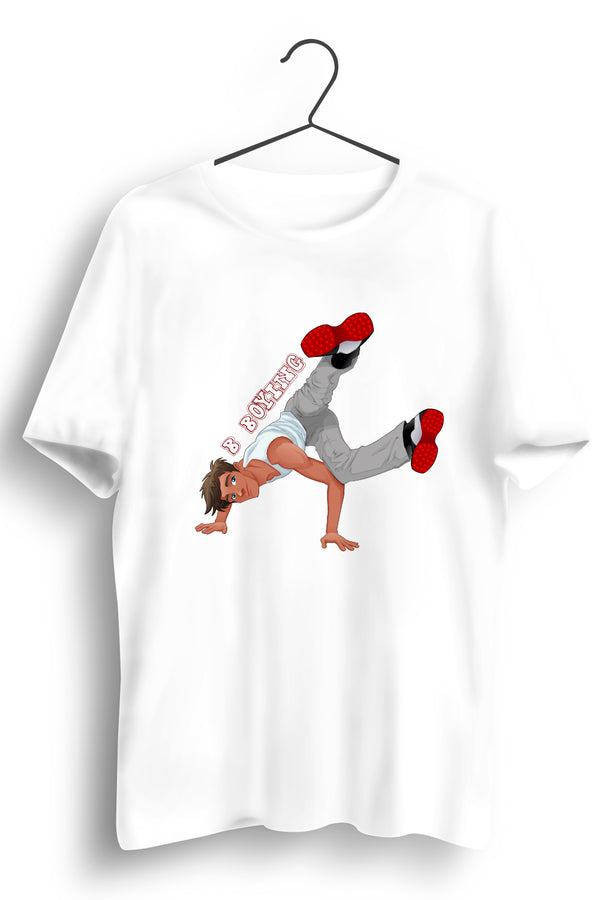 B Boying Graphic Printed White Tshirt