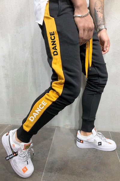 Dance Graphic Printed Black Mens Joggers