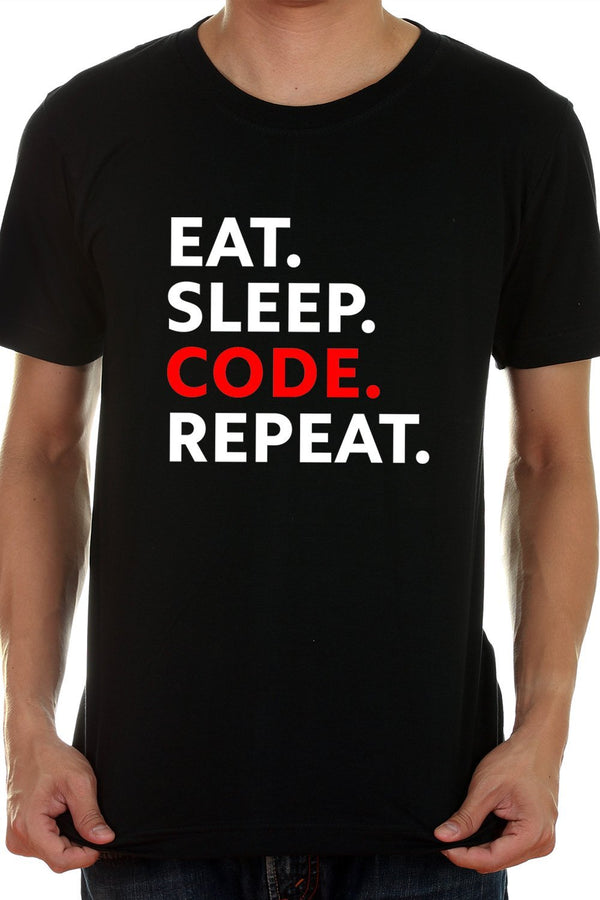 Eat Sleep Code Repeat - Casual Black Round Neck Cotton TShirt For Coders