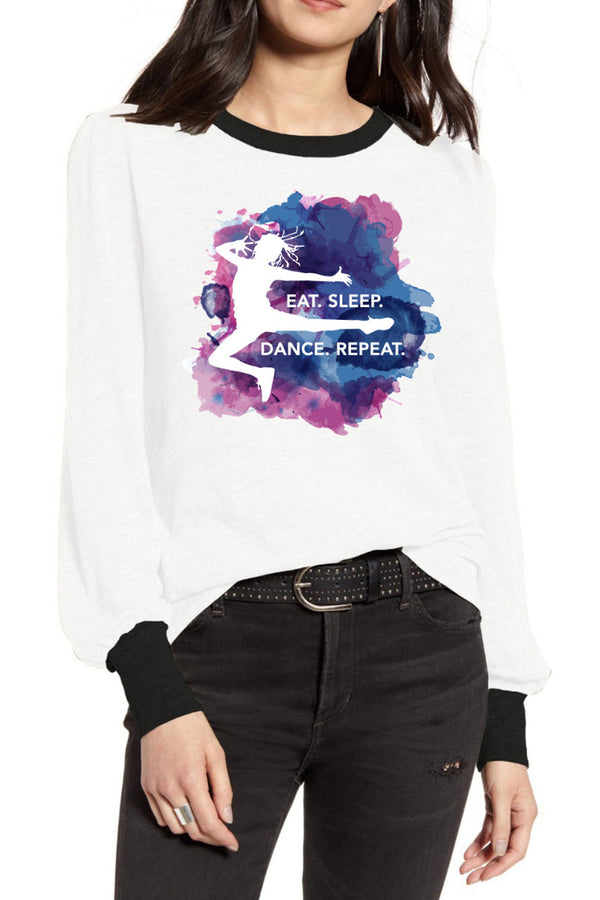Eat Sleep Dance Repeat White Full Sleeve Tee