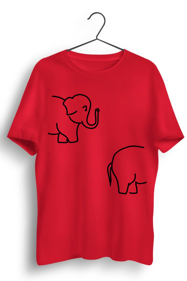Elephant Graphic Printed Red Tshirt