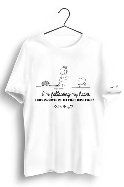 Following My Heart Graphic Printed White Tshirt