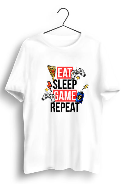 Eat Sleep Game Repeat White Tshirt