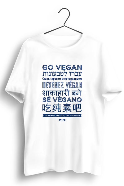 Go Vegan Multilingual White Tshirt