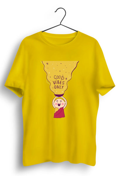 Good Vibes Only Graphic Printed Yellow Tshirt